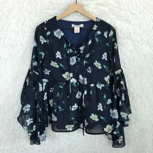 Floral Peasant Blouse Blue Flying Tomato